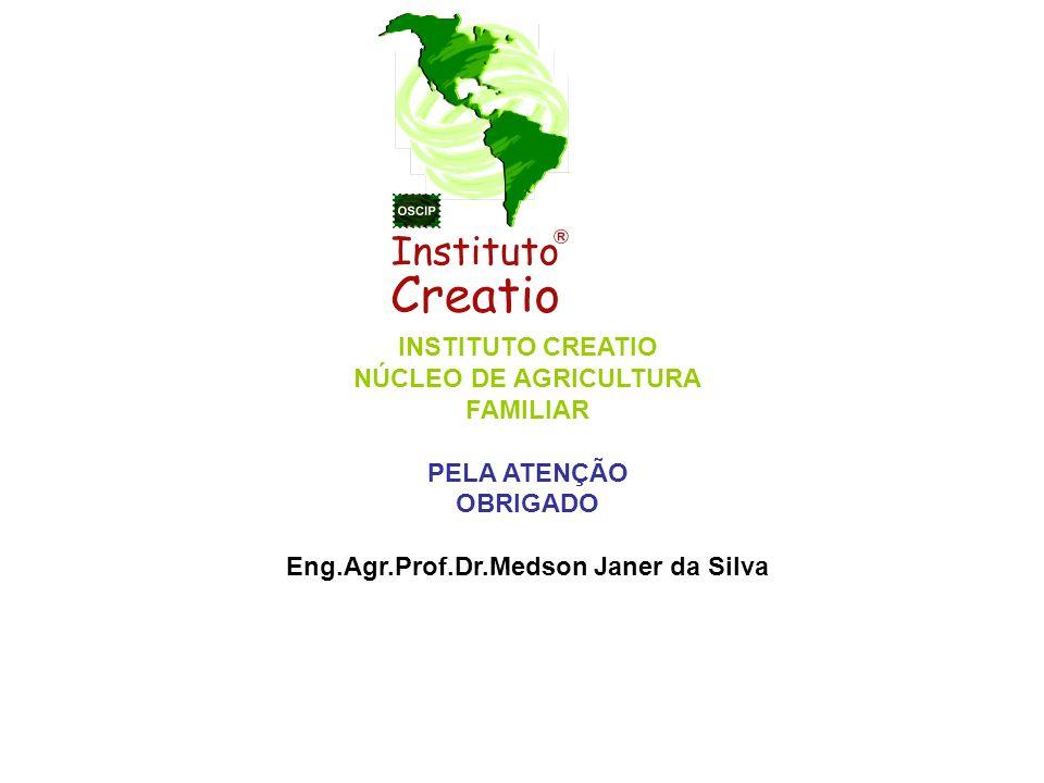 INSTITUTO CREATIO NÚCLEO DE AGRICULTURA FAMILIAR PELA ATENÇÃO OBRIGADO Eng.Agr.Prof.Dr.Medson Janer da Silva