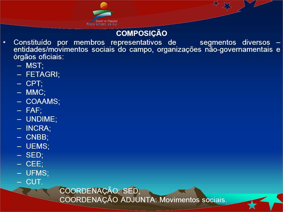 COMPOSIÇÃO Constituído por membros representativos de segmentos diversos – entidades/movimentos sociais do campo, organizações não-governamentais e ór