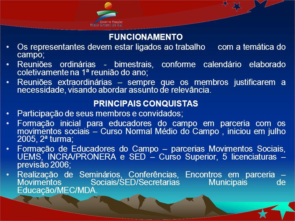 FUNCIONAMENTO Os representantes devem estar ligados ao trabalho com a temática do campo; Reuniões ordinárias - bimestrais, conforme calendário elabora