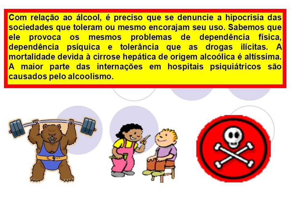 Com relação ao álcool, é preciso que se denuncie a hipocrisia das sociedades que toleram ou mesmo encorajam seu uso. Sabemos que ele provoca os mesmos