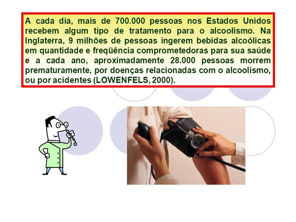 A cada dia, mais de 700.000 pessoas nos Estados Unidos recebem algum tipo de tratamento para o alcoolismo. Na Inglaterra, 9 milhões de pessoas ingerem