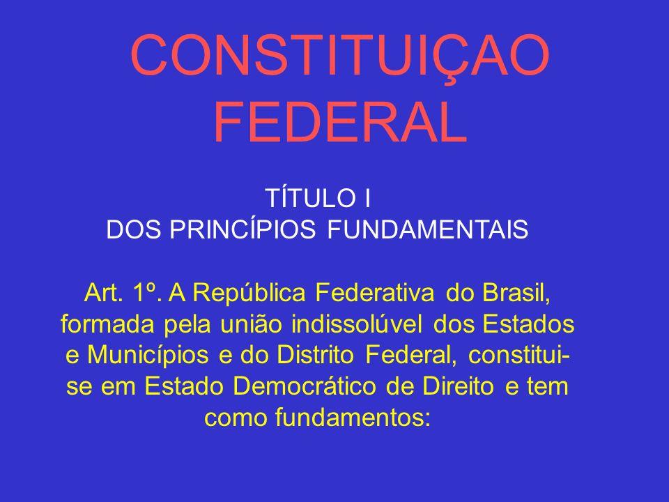 CONSTITUIÇAO FEDERAL TÍTULO I DOS PRINCÍPIOS FUNDAMENTAIS Art. 1º. A República Federativa do Brasil, formada pela união indissolúvel dos Estados e Mun