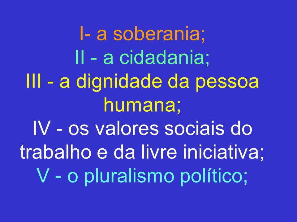 I- a soberania; II - a cidadania; III - a dignidade da pessoa humana; IV - os valores sociais do trabalho e da livre iniciativa; V - o pluralismo polí