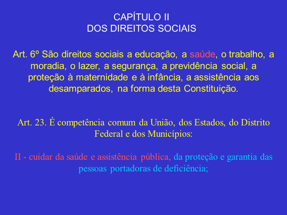 CAPÍTULO II DOS DIREITOS SOCIAIS Art. 6º São direitos sociais a educação, a saúde, o trabalho, a moradia, o lazer, a segurança, a previdência social,