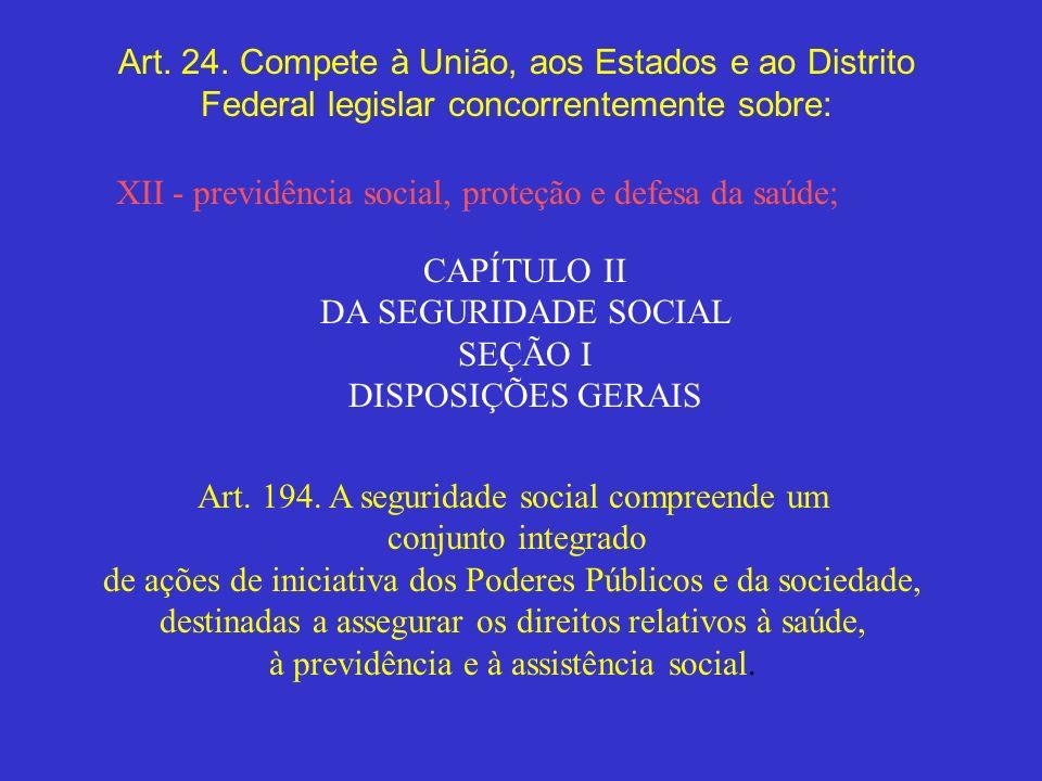 Art. 24. Compete à União, aos Estados e ao Distrito Federal legislar concorrentemente sobre: XII - previdência social, proteção e defesa da saúde; CAP
