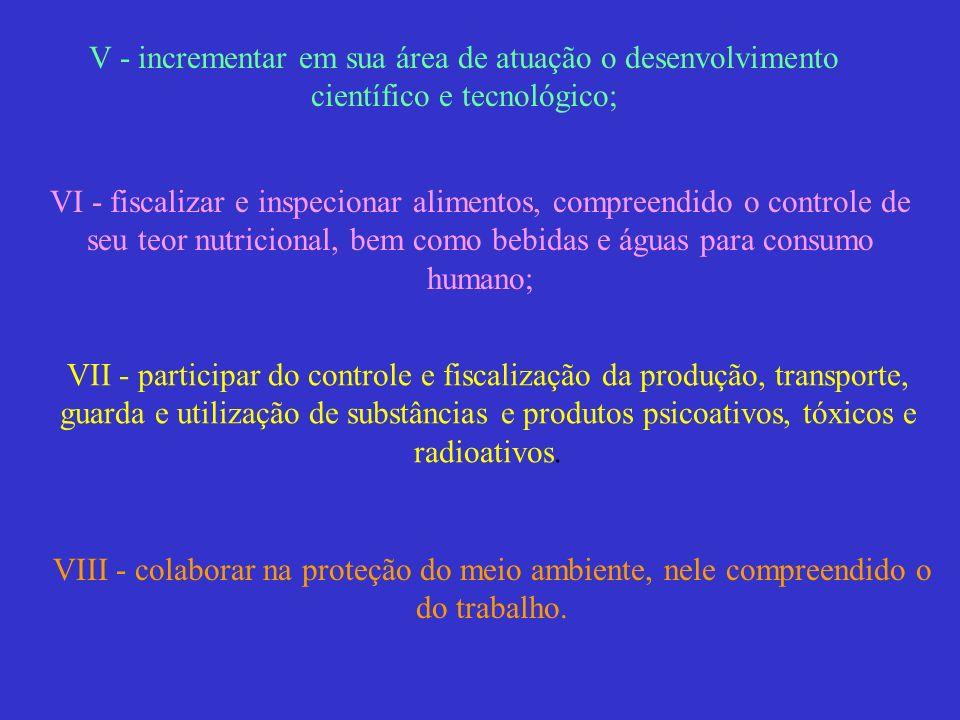 V - incrementar em sua área de atuação o desenvolvimento científico e tecnológico; VI - fiscalizar e inspecionar alimentos, compreendido o controle de