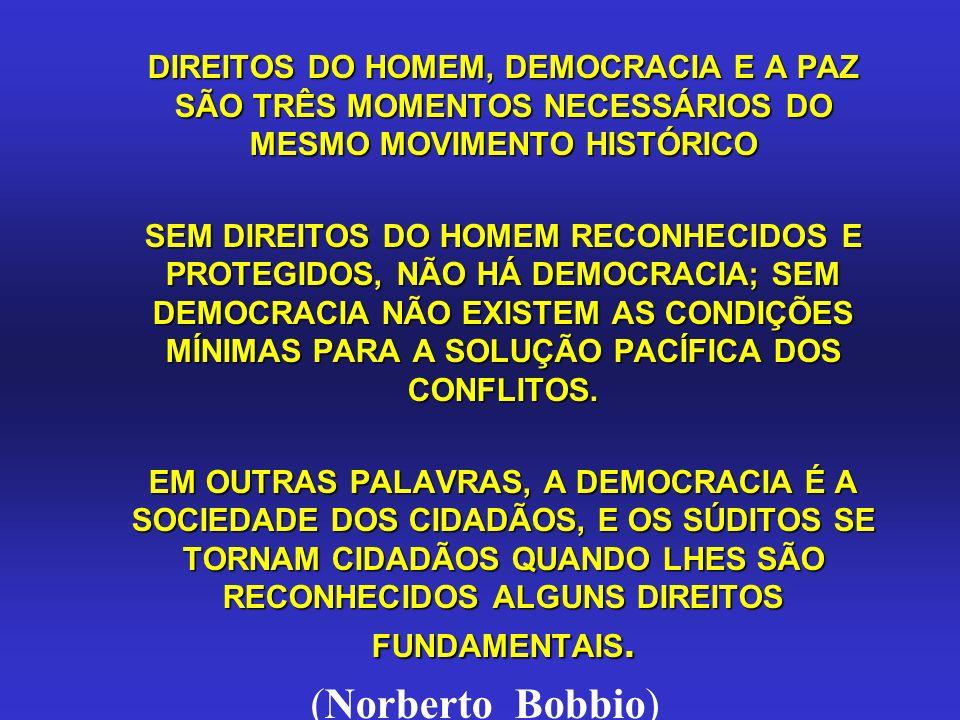 DIREITOS DO HOMEM, DEMOCRACIA E A PAZ SÃO TRÊS MOMENTOS NECESSÁRIOS DO MESMO MOVIMENTO HISTÓRICO DIREITOS DO HOMEM, DEMOCRACIA E A PAZ SÃO TRÊS MOMENT