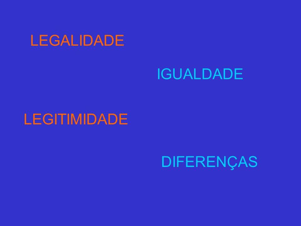 LEGALIDADE LEGITIMIDADE IGUALDADE DIFERENÇAS