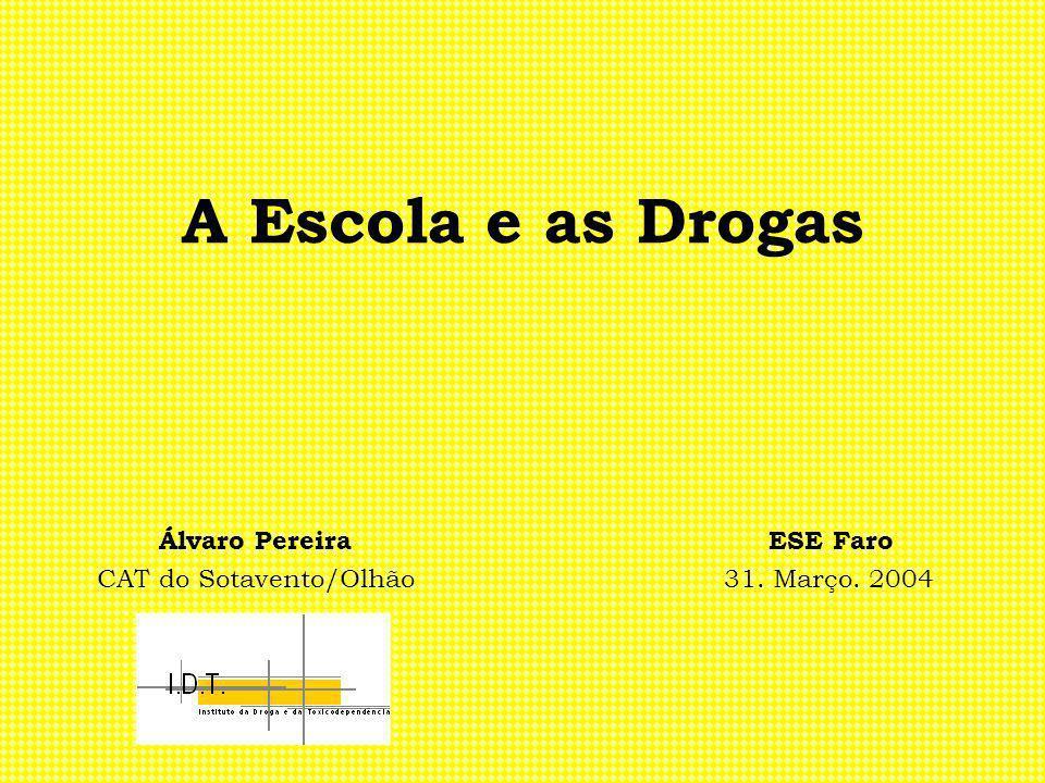 A Escola e as Drogas Álvaro Pereira ESE Faro CAT do Sotavento/Olhão 31. Março. 2004