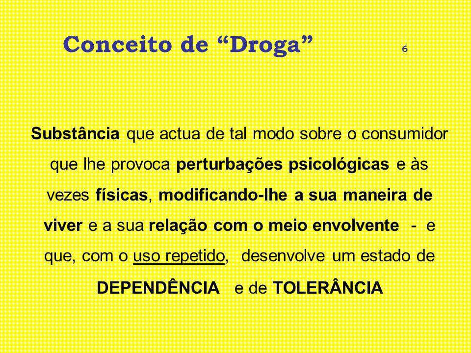 Conceito de Droga 6 Substância que actua de tal modo sobre o consumidor que lhe provoca perturbações psicológicas e às vezes físicas, modificando-lhe