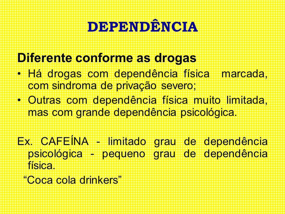 DEPENDÊNCIA Diferente conforme as drogas Há drogas com dependência física marcada, com sindroma de privação severo; Outras com dependência física muit