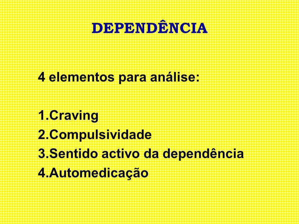 DEPENDÊNCIA 4 elementos para análise: 1.Craving 2.Compulsividade 3.Sentido activo da dependência 4.Automedicação