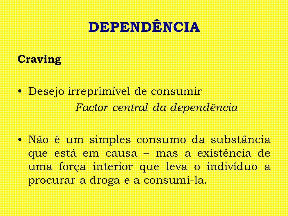 DEPENDÊNCIA Craving Desejo irreprimível de consumir Factor central da dependência Não é um simples consumo da substância que está em causa – mas a exi