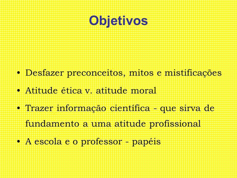 Objetivos Desfazer preconceitos, mitos e mistificações Atitude ética v. atitude moral Trazer informação científica - que sirva de fundamento a uma ati