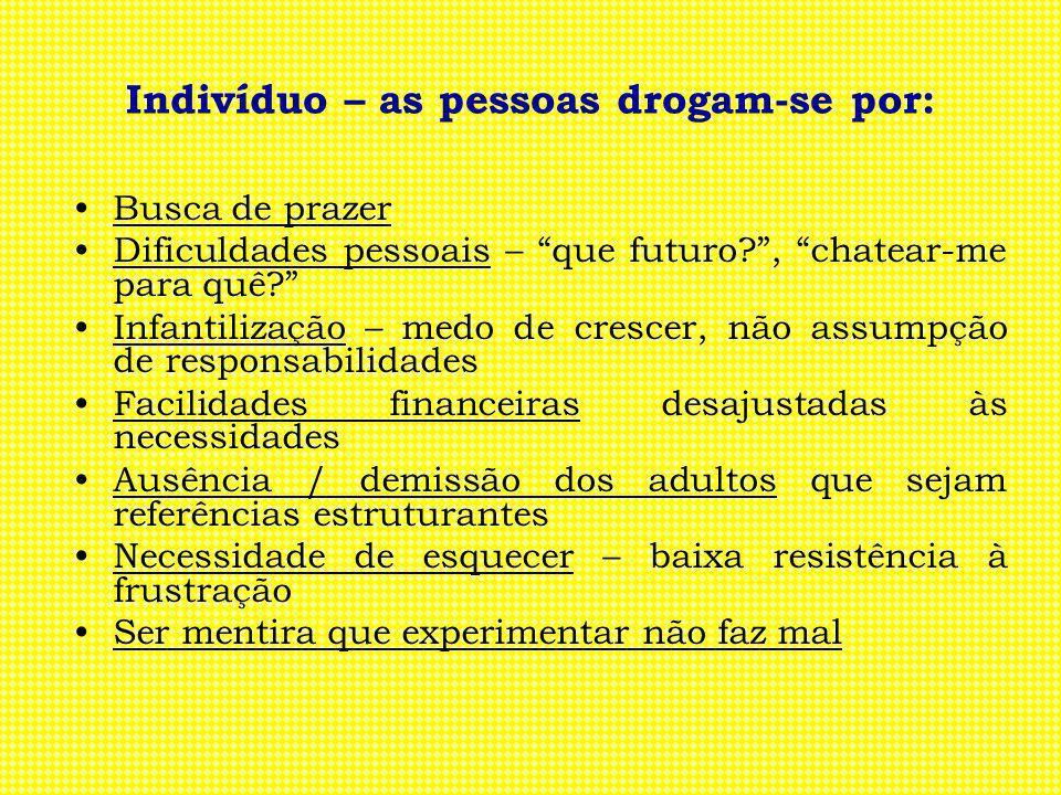 Indivíduo – as pessoas drogam-se por: Busca de prazer Dificuldades pessoais – que futuro?, chatear-me para quê? Infantilização – medo de crescer, não