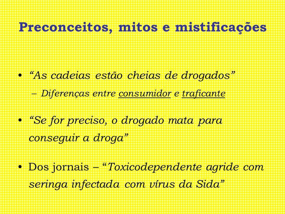 Preconceitos, mitos e mistificações Ser toxicodependente é para toda a vida Dar metadona é substituir uma droga por outra Só se tratam os que têm dinheiro Um charro faz menos mal que um cigarro Uma pastilha de vez em quando não faz mal