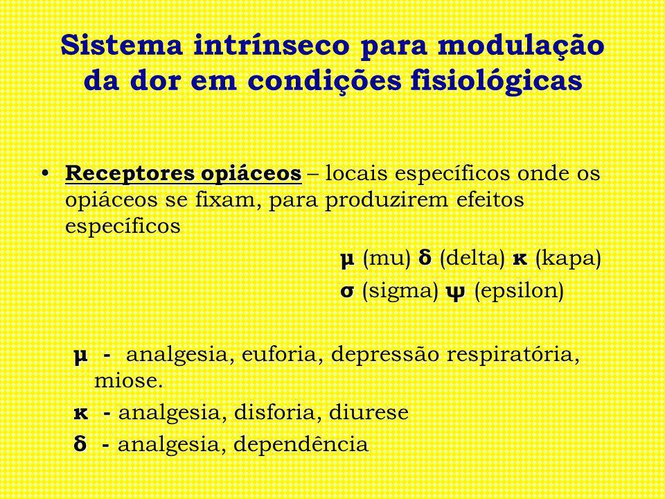 Sistema intrínseco para modulação da dor em condições fisiológicas Receptores opiáceos Receptores opiáceos – locais específicos onde os opiáceos se fi