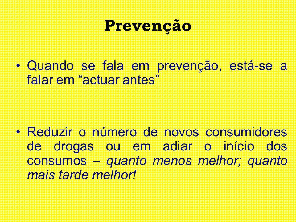 Prevenção Quando se fala em prevenção, está-se a falar em actuar antes Reduzir o número de novos consumidores de drogas ou em adiar o início dos consu