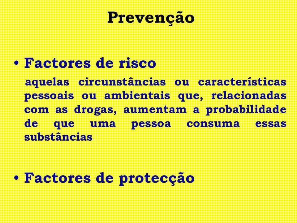 Prevenção Factores de risco aquelas circunstâncias ou características pessoais ou ambientais que, relacionadas com as drogas, aumentam a probabilidade
