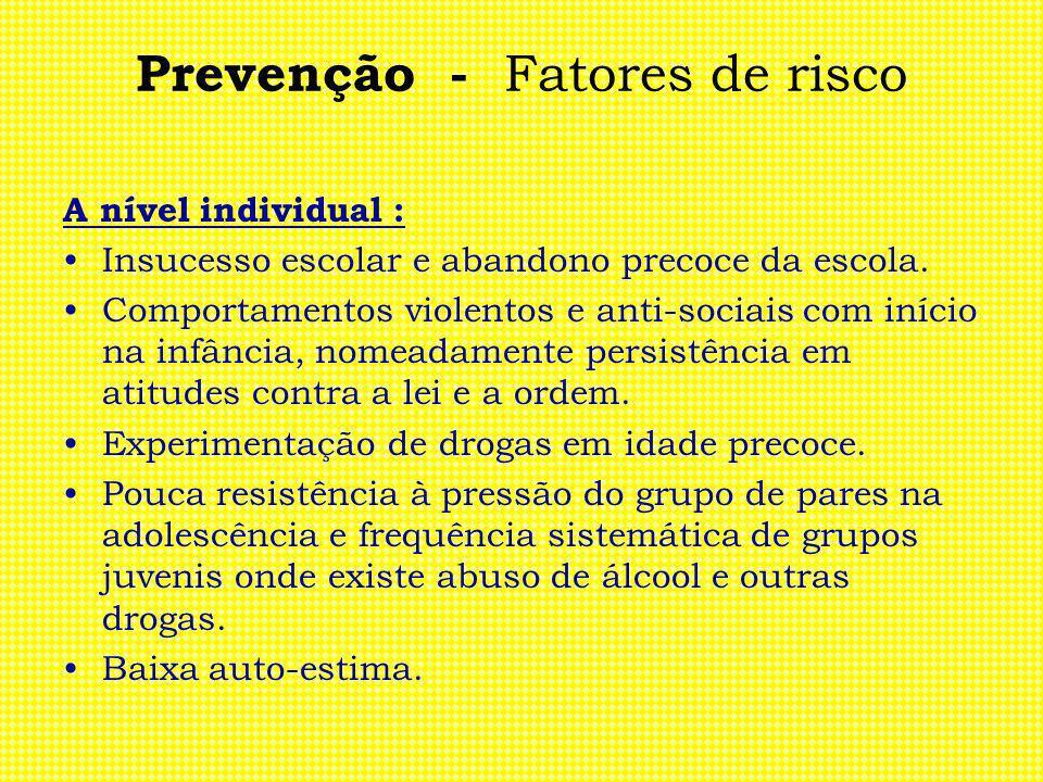 Prevenção - Fatores de risco A nível individual : Insucesso escolar e abandono precoce da escola. Comportamentos violentos e anti-sociais com início n