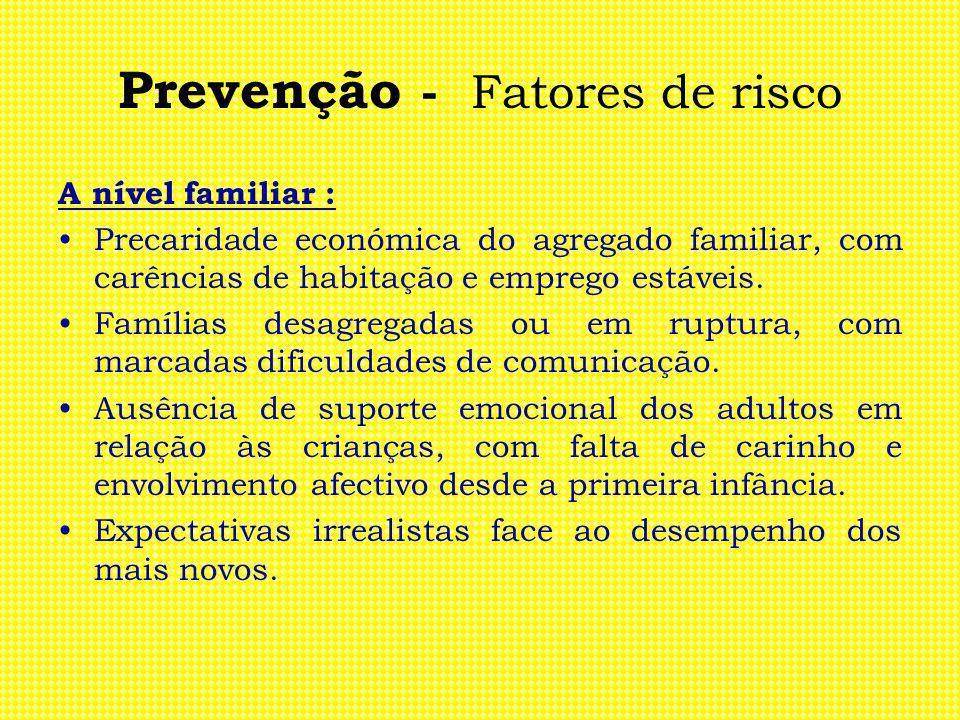 Prevenção - Fatores de risco A nível familiar : Precaridade económica do agregado familiar, com carências de habitação e emprego estáveis. Famílias de