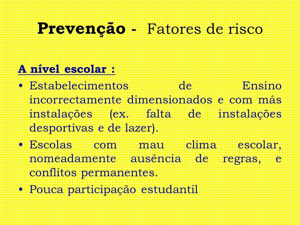 Prevenção - Fatores de risco A nível escolar : Estabelecimentos de Ensino incorrectamente dimensionados e com más instalações (ex. falta de instalaçõe