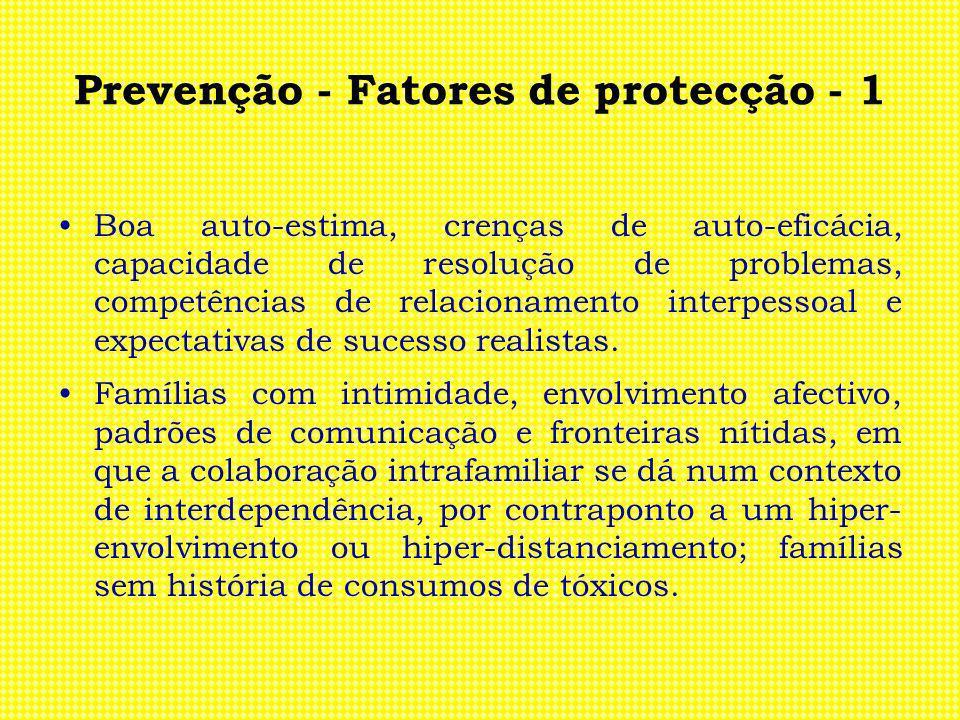 Prevenção - Fatores de protecção - 1 Boa auto-estima, crenças de auto-eficácia, capacidade de resolução de problemas, competências de relacionamento i