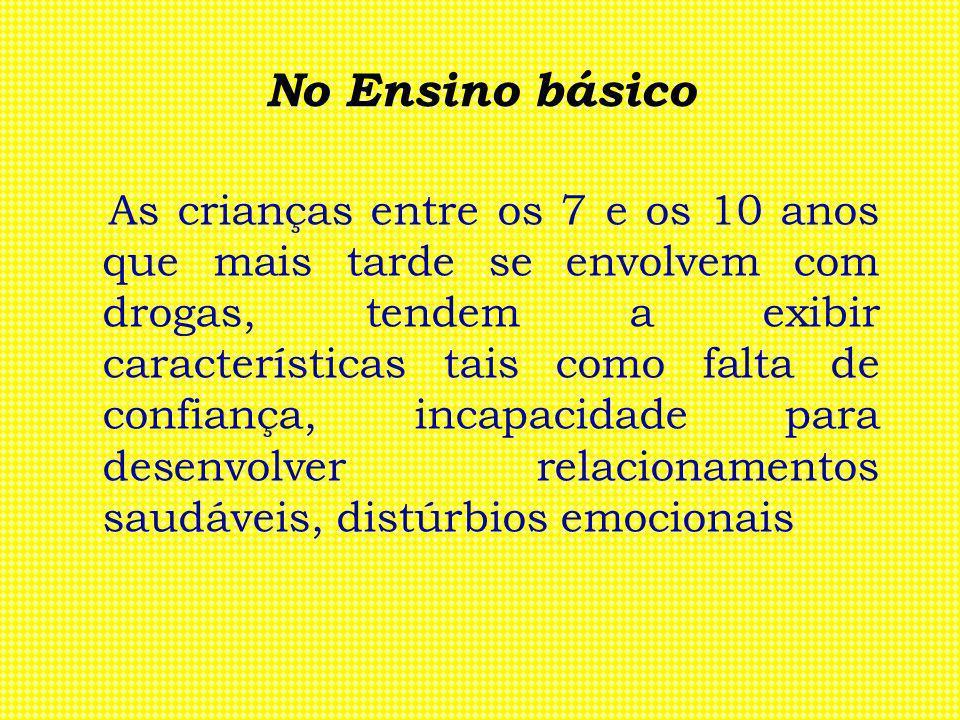 No Ensino básico As crianças entre os 7 e os 10 anos que mais tarde se envolvem com drogas, tendem a exibir características tais como falta de confian
