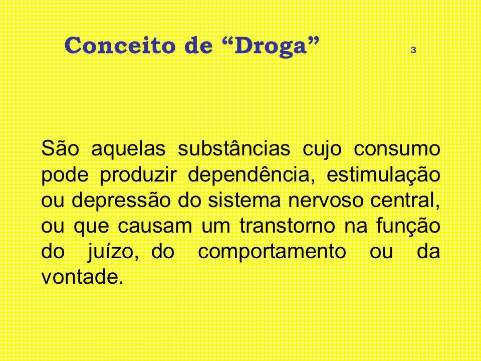 Conceito de Droga 3 São aquelas substâncias cujo consumo pode produzir dependência, estimulação ou depressão do sistema nervoso central, ou que causam