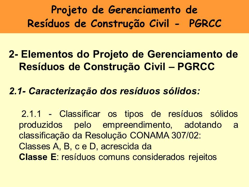 Projeto de Gerenciamento de Resíduos de Construção Civil - PGRCC 2- Elementos do Projeto de Gerenciamento de Resíduos de Construção Civil – PGRCC 2.1-