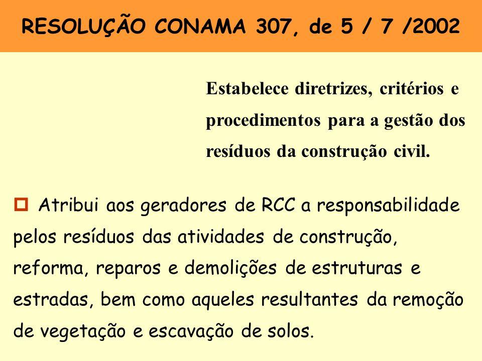 RESOLUÇÃO CONAMA 307, de 5 / 7 /2002 Estabelece diretrizes, critérios e procedimentos para a gestão dos resíduos da construção civil. p Atribui aos ge