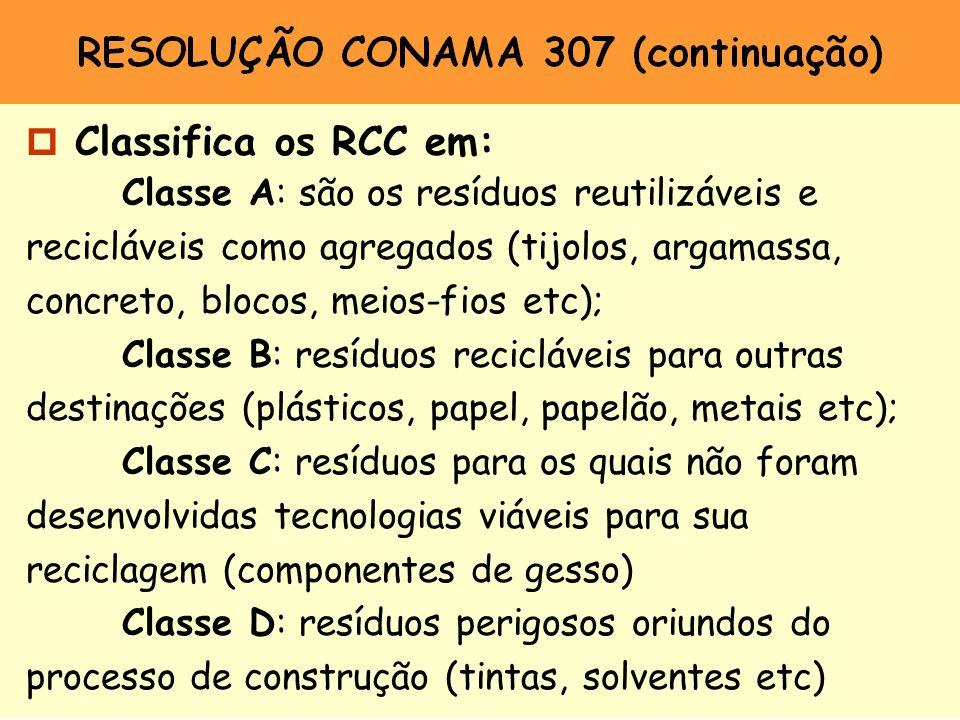 p Classifica os RCC em: Classe A: são os resíduos reutilizáveis e recicláveis como agregados (tijolos, argamassa, concreto, blocos, meios-fios etc); C