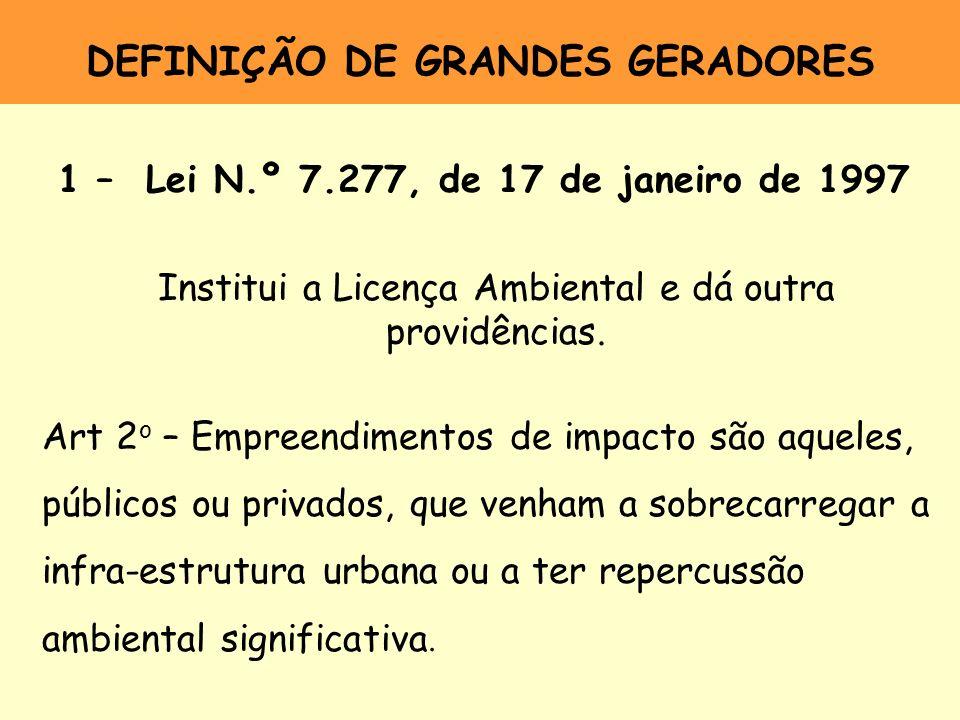 DEFINIÇÃO DE GRANDES GERADORES 1 – Lei N.º 7.277, de 17 de janeiro de 1997 Institui a Licença Ambiental e dá outra providências. Art 2 o – Empreendime