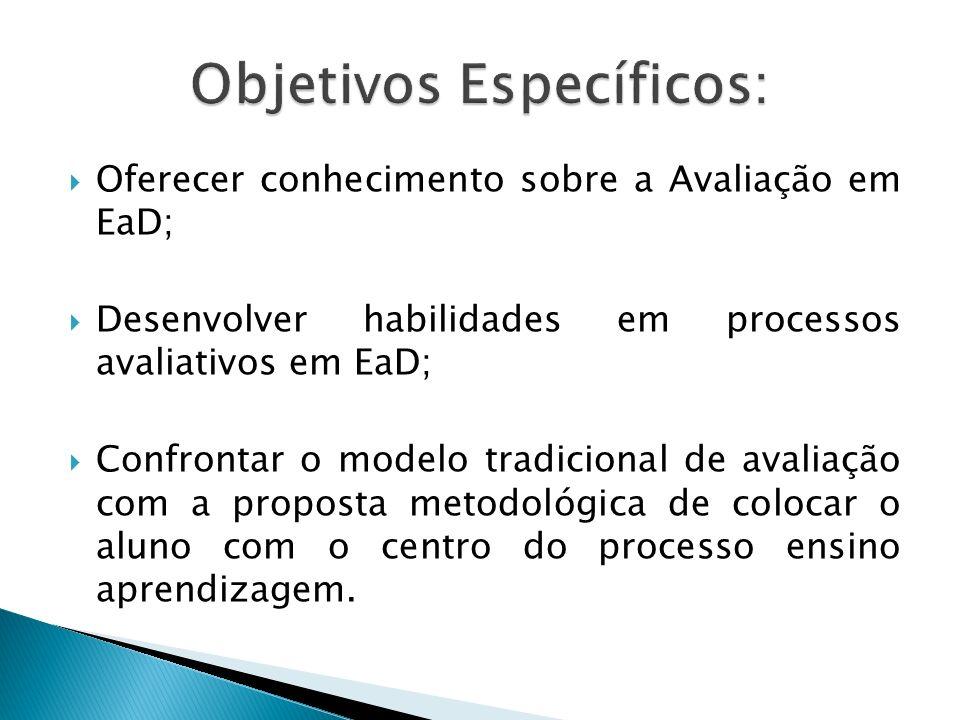 Oferecer conhecimento sobre a Avaliação em EaD; Desenvolver habilidades em processos avaliativos em EaD; Confrontar o modelo tradicional de avaliação