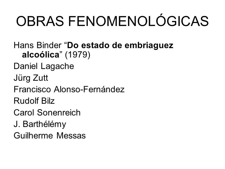 OBRAS FENOMENOLÓGICAS Hans Binder Do estado de embriaguez alcoólica (1979) Daniel Lagache Jürg Zutt Francisco Alonso-Fernández Rudolf Bilz Carol Sonen