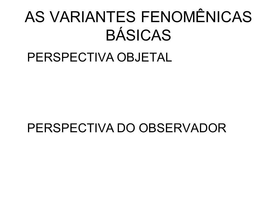 AS VARIANTES FENOMÊNICAS BÁSICAS PERSPECTIVA OBJETAL PERSPECTIVA DO OBSERVADOR