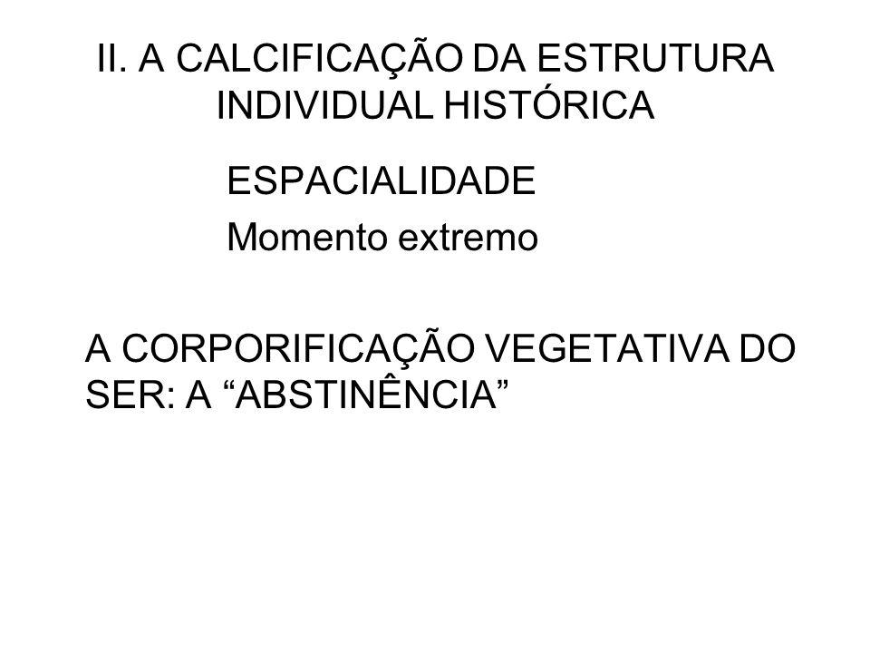 II. A CALCIFICAÇÃO DA ESTRUTURA INDIVIDUAL HISTÓRICA ESPACIALIDADE Momento extremo A CORPORIFICAÇÃO VEGETATIVA DO SER: A ABSTINÊNCIA