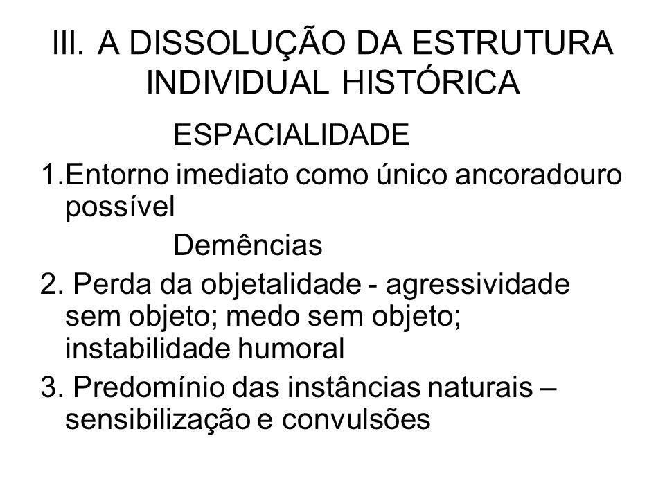 III. A DISSOLUÇÃO DA ESTRUTURA INDIVIDUAL HISTÓRICA ESPACIALIDADE 1.Entorno imediato como único ancoradouro possível Demências 2. Perda da objetalidad