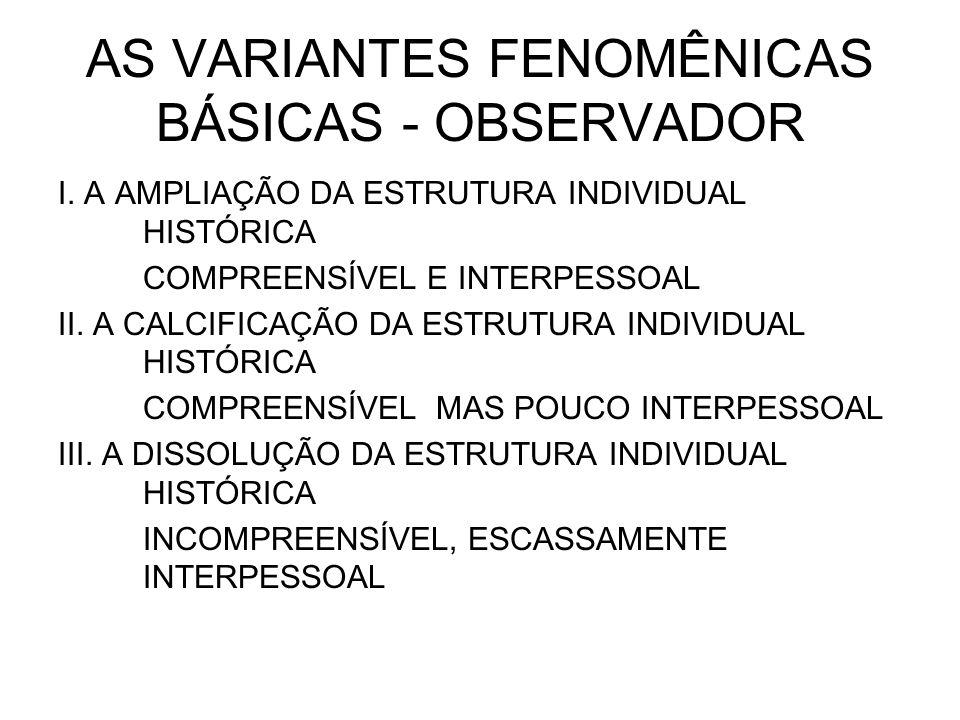 AS VARIANTES FENOMÊNICAS BÁSICAS - OBSERVADOR I. A AMPLIAÇÃO DA ESTRUTURA INDIVIDUAL HISTÓRICA COMPREENSÍVEL E INTERPESSOAL II. A CALCIFICAÇÃO DA ESTR