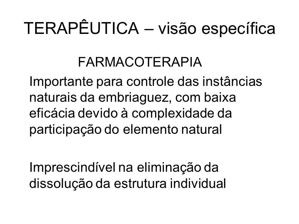 TERAPÊUTICA – visão específica FARMACOTERAPIA Importante para controle das instâncias naturais da embriaguez, com baixa eficácia devido à complexidade