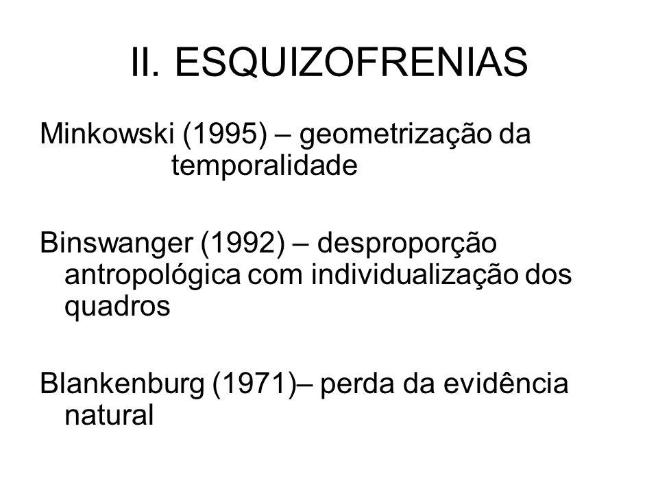 II. ESQUIZOFRENIAS Minkowski (1995) – geometrização da temporalidade Binswanger (1992) – desproporção antropológica com individualização dos quadros B