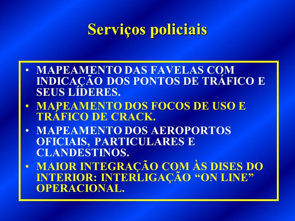 Serviços policiais MAPEAMENTO DAS FAVELAS COM INDICAÇÃO DOS PONTOS DE TRÁFICO E SEUS LÍDERES.