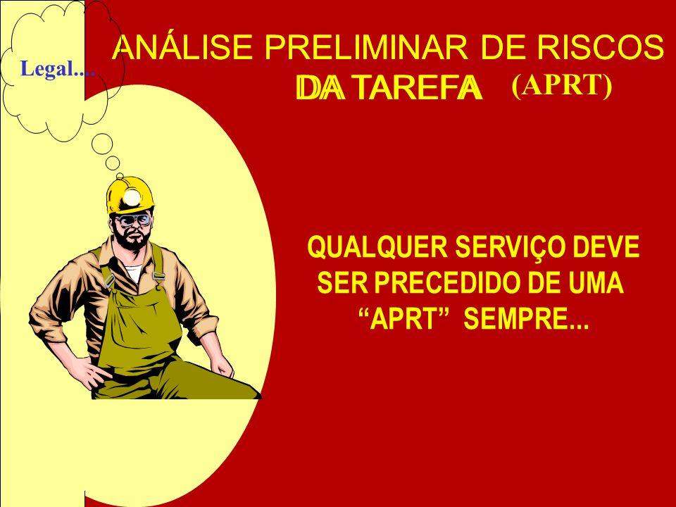 ANÁLISE PRELIMINAR DE RISCOS DA TAREFA (APRT) QUALQUER SERVIÇO DEVE SER PRECEDIDO DE UMA APRT SEMPRE... Legal....