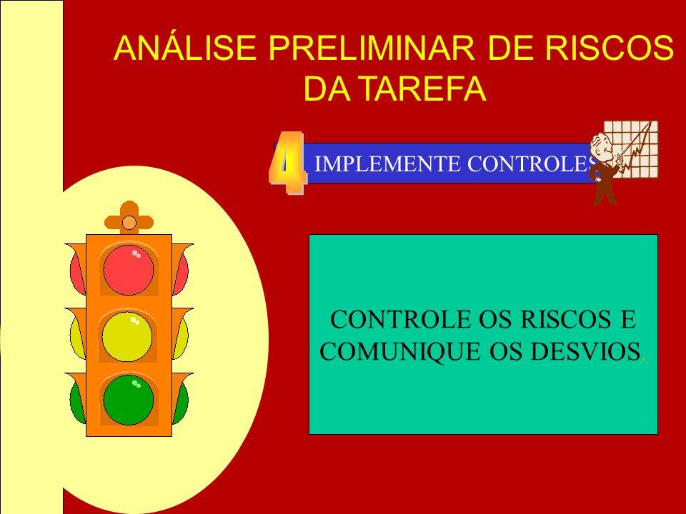 ANÁLISE PRELIMINAR DE RISCOS DA TAREFA IMPLEMENTE CONTROLES CONTROLE OS RISCOS E COMUNIQUE OS DESVIOS.