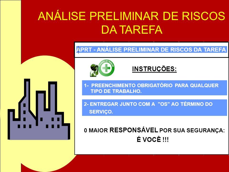 ANÁLISE PRELIMINAR DE RISCOS DA TAREFA APRT - ANÁLISE PRELIMINAR DE RISCOS DA TAREFA INSTRUÇÕES: 1- PREENCHIMENTO OBRIGATÓRIO PARA QUALQUER TIPO DE TR
