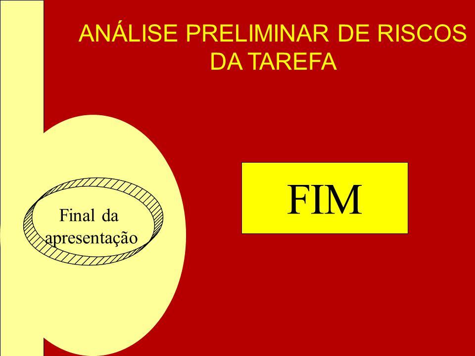 ANÁLISE PRELIMINAR DE RISCOS DA TAREFA Final da apresentação FIM