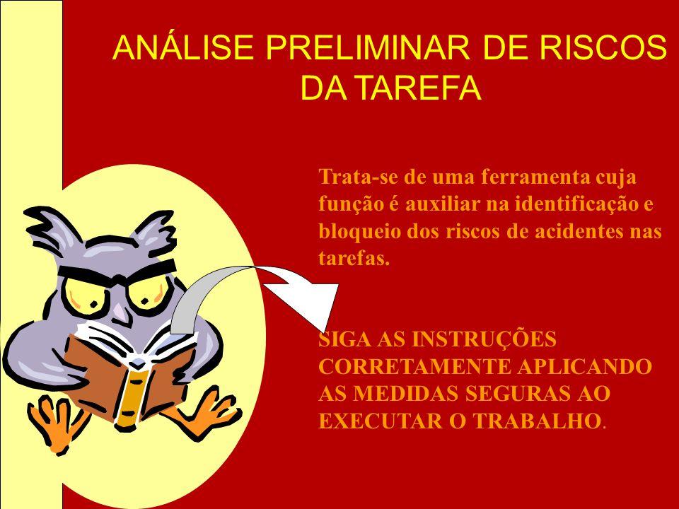 ANÁLISE PRELIMINAR DE RISCOS DA TAREFA Trata-se de uma ferramenta cuja função é auxiliar na identificação e bloqueio dos riscos de acidentes nas taref