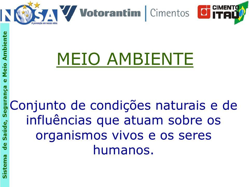 MEIO AMBIENTE Conjunto de condições naturais e de influências que atuam sobre os organismos vivos e os seres humanos.