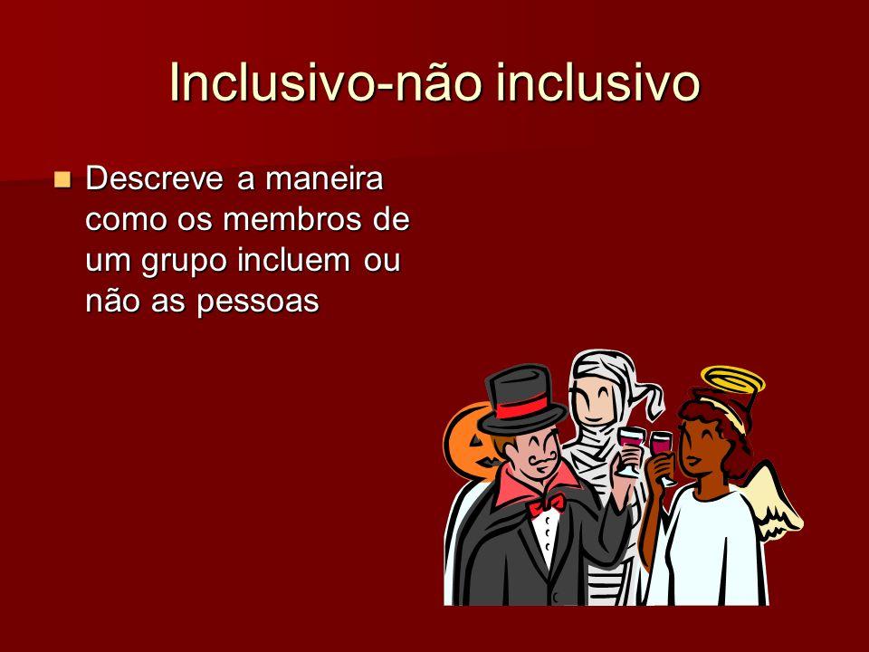 Inclusivo-não inclusivo Descreve a maneira como os membros de um grupo incluem ou não as pessoas Descreve a maneira como os membros de um grupo inclue