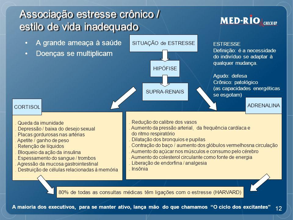 12 Associação estresse crônico / estilo de vida inadequado A grande ameaça à saúde Doenças se multiplicam ESTRESSE Definição: é a necessidade do indivíduo se adaptar à qualquer mudança.